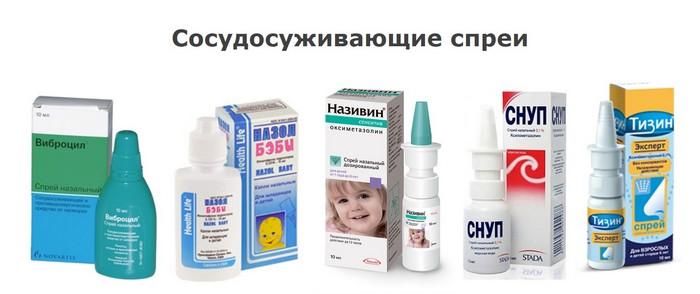 Сосудосуживающие спреи для детей: Виброцил, Назол Бэби, Називин, Снут, Тизин